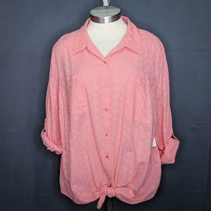 Style & Co Women Top Shirt Plus 4X Peach Pink Tied